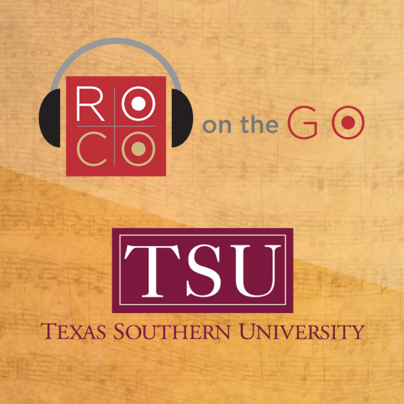 """A gold background with two logos; one red square with headphones that reads """"ROCO"""" followed by """"on the Go,"""" and the second is a text logo which reads """"TSU: Texas Southern University."""""""